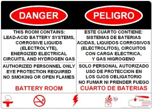Stationary Battery Room Sign